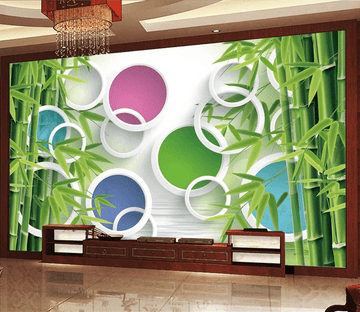 Bamboos And Colored Circles Wallpaper AJ Wallpaper