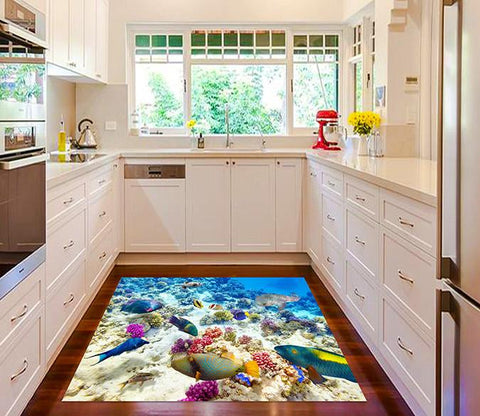 3D Seabed Scenery Kitchen Mat Floor Mural
