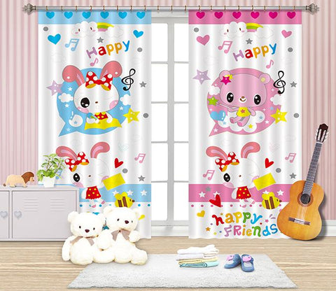 3D Cartoon Bear And Rabbit 2457 Curtains Drapes