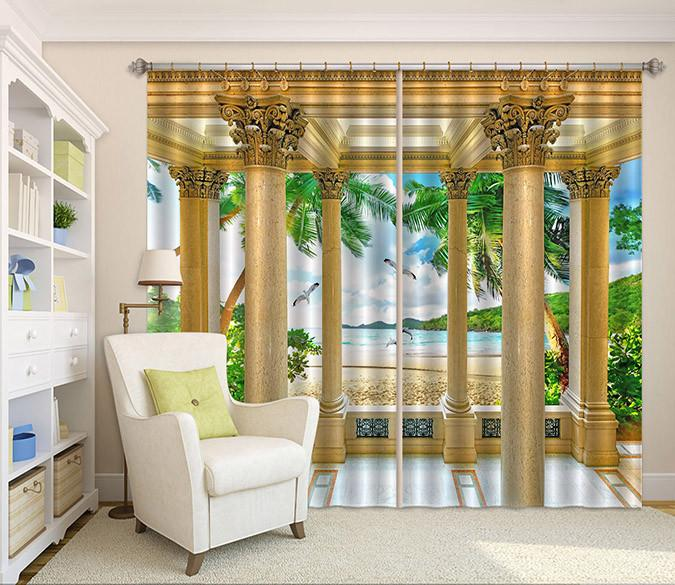 3D Beach Pillar Pavilion 40 Curtains Drapes