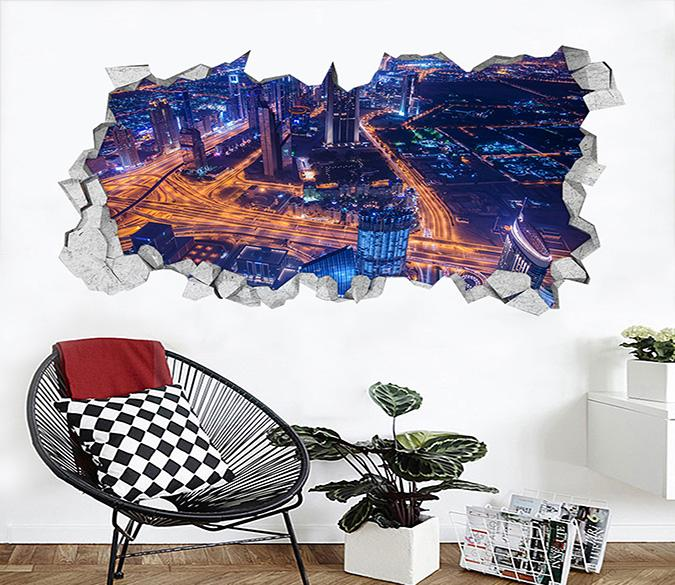 3D Bustling City 352 Broken Wall Murals
