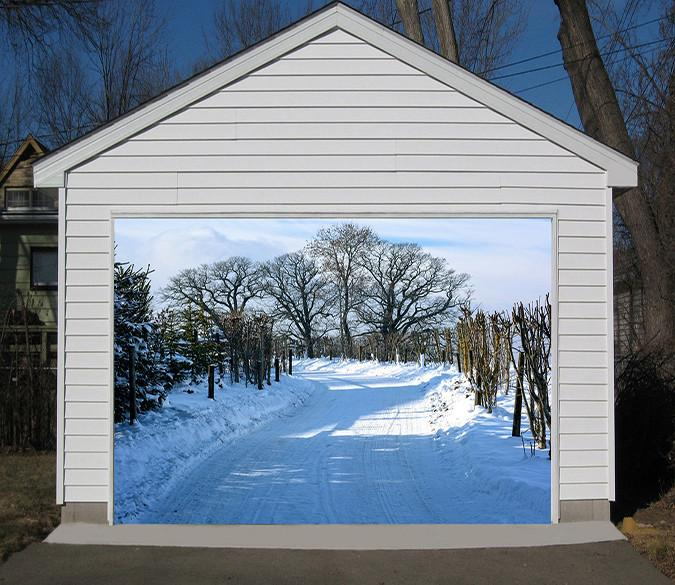 3D Snow Road Bare Trees 141 Garage Door Mural