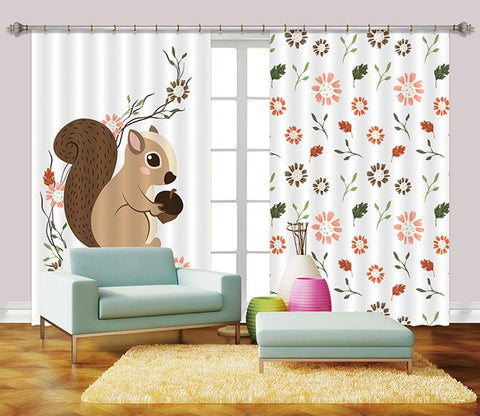 3D Squirrel And Flowers 2443 Curtains Drapes