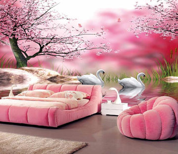 3D Beautiful Flowers And Swans Wallpaper AJ Wallpaper 1