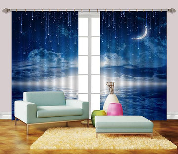 3D Blue Stars Sky 2225 Curtains Drapes Wallpaper AJ Wallpaper