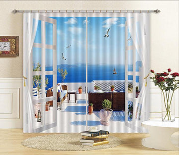 3D Balcony Lake Scenery 15 Curtains Drapes Wallpaper AJ Wallpaper