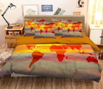 3D  Bright Sky World Map 140 Bed Pillowcases Quilt