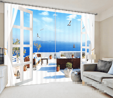 3D Balcony Lake Scenery 1008 Curtains Drapes Wallpaper AJ Wallpaper