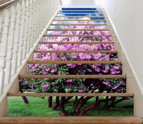 3D Beautiful Flowering Trees 5 Stair Risers