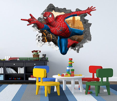 3D Spiderman 71 Broken Wall Murals