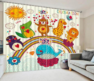 3D Animals Rainbow Celebration 834 Curtains Drapes Wallpaper AJ Wallpaper