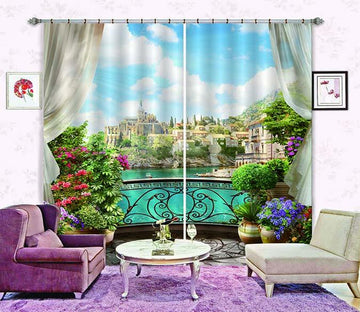 3D Balcony Town Scenery 746 Curtains Drapes Wallpaper AJ Wallpaper