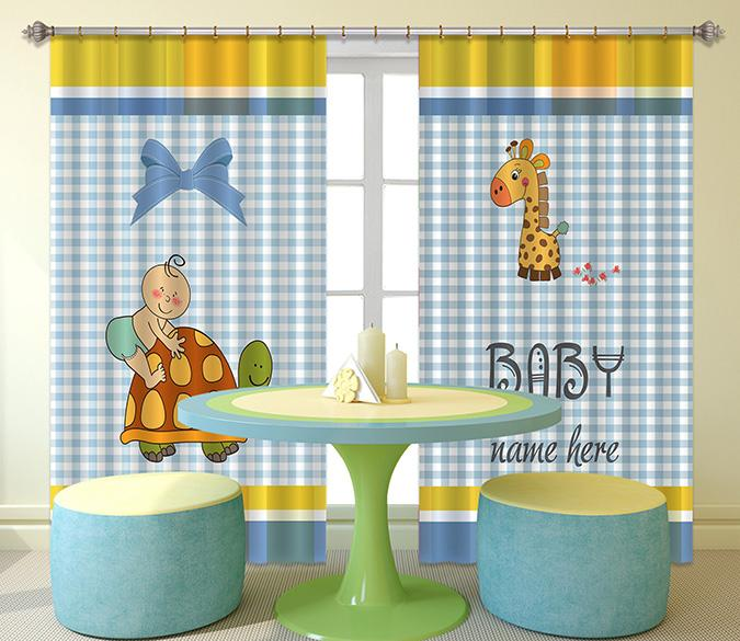 3D Cartoon Turtle Giraffe 2453 Curtains Drapes