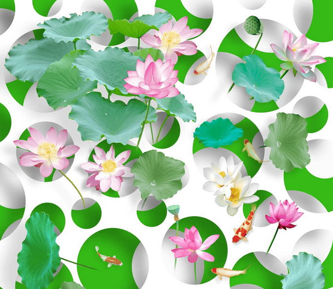 3D Fresh Lotus Floor Mural Wallpaper AJ Wallpaper 2