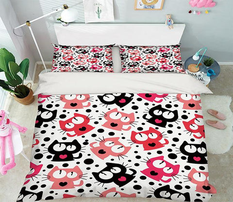 3D Cats Dots Pattern 324 Bed Pillowcases Quilt