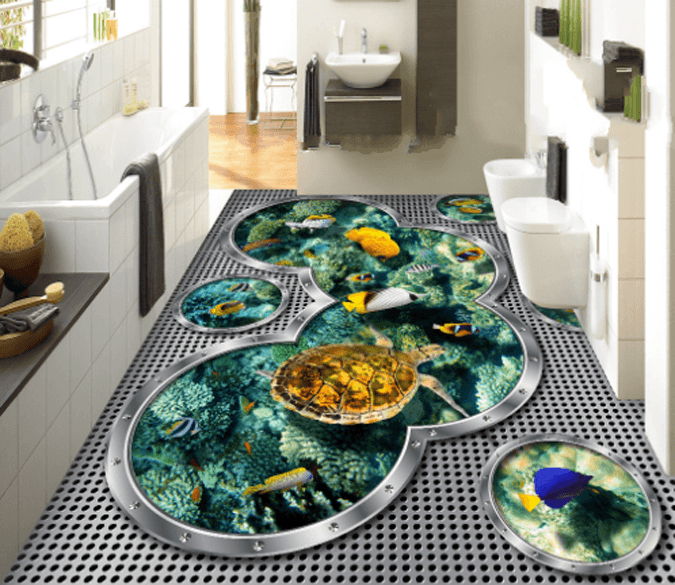3D Various Color Fishes Floor Mural Wallpaper AJ Wallpaper 2