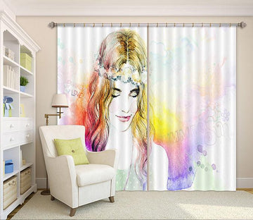 3D Pretty Girl 104 Curtains Drapes
