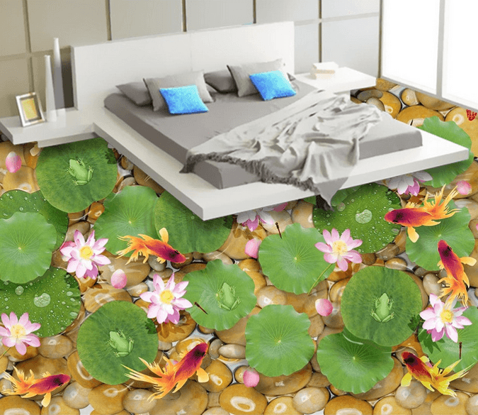3D Elegant Pond Floor Mural Wallpaper AJ Wallpaper 2
