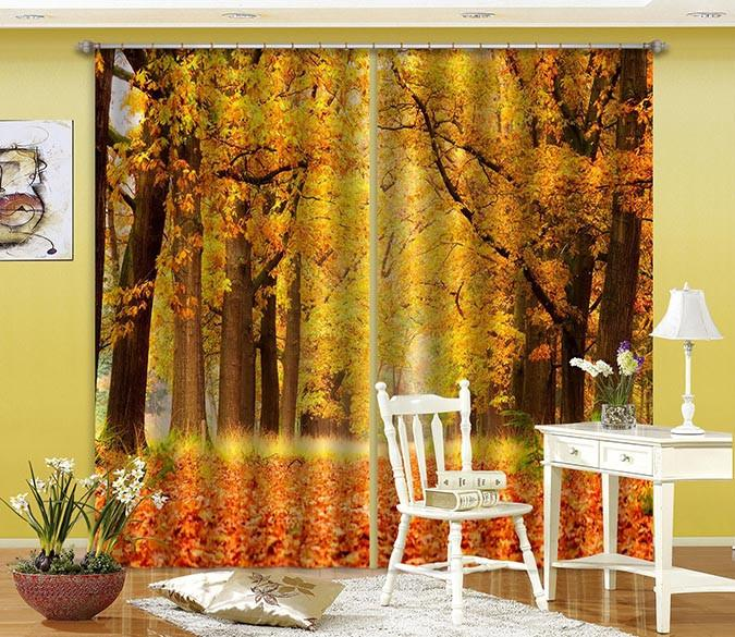 3D Autumn Trees Fallen Leaves 605 Curtains Drapes