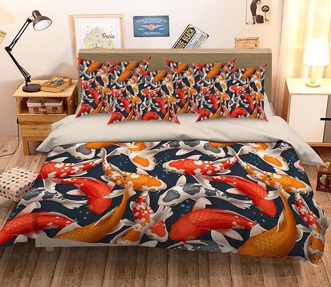 3D Colorful Fishes 270 Bed Pillowcases Quilt