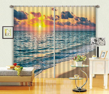 3D Pretty Sea Sunset 131 Curtains Drapes