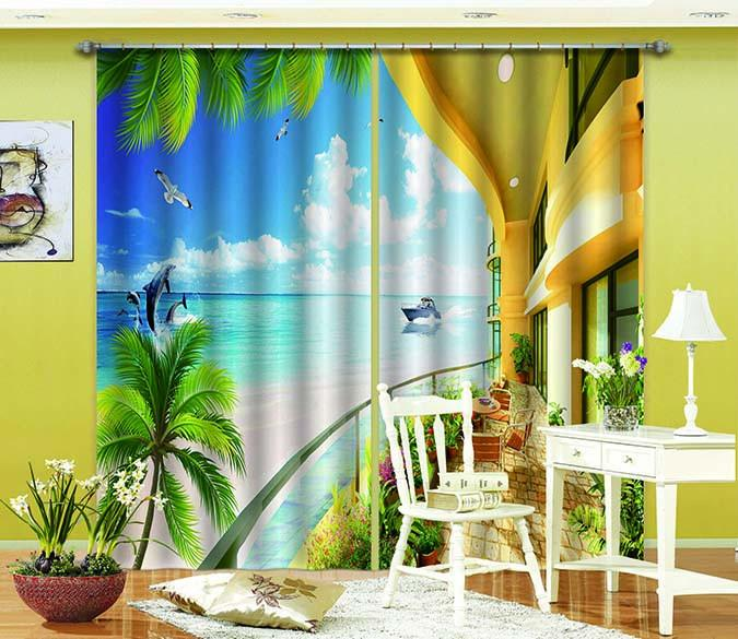 3D Balcony Sea Scenery 734 Curtains Drapes