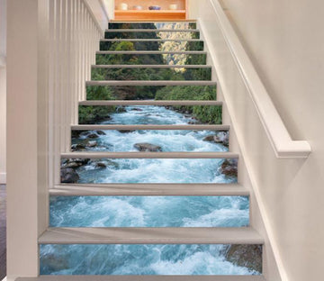 3D Turbulent River 128 Stair Risers Wallpaper AJ Wallpaper