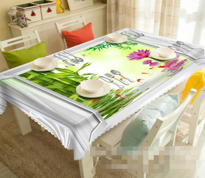 3D Bamboos Flowers Fishes 1209 Tablecloths