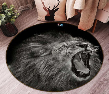 3D Laughing Lion 87 Round Non Slip Rug Mat
