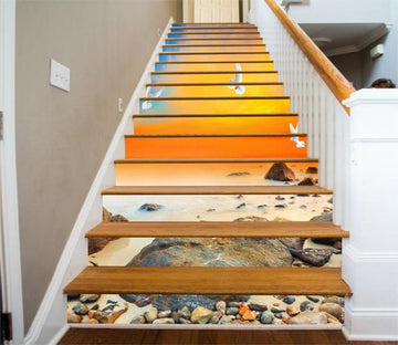 3D Sunset Beach Stones And Seagulls 402 Stair Risers Wallpaper AJ Wallpaper
