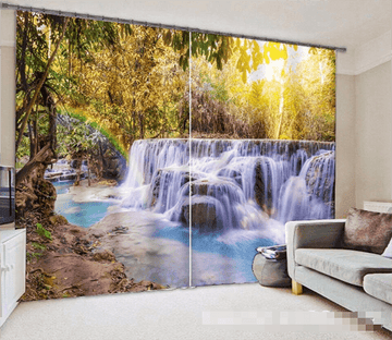 3D Forest Waterfall 1050 Curtains Drapes