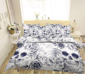 3D Skulls Flowers 64 Bed Pillowcases Quilt