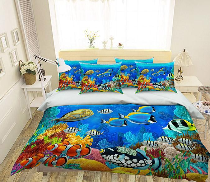 3D Bright Ocean World 246 Bed Pillowcases Quilt