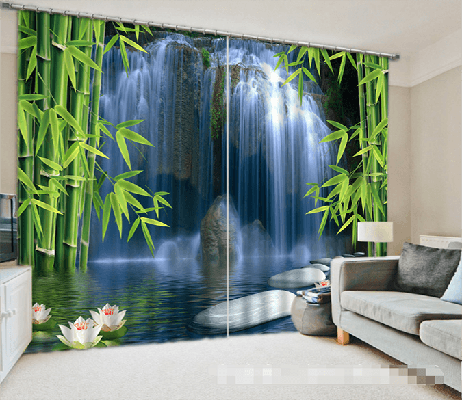 3D Waterfall Bamboos 1032 Curtains Drapes