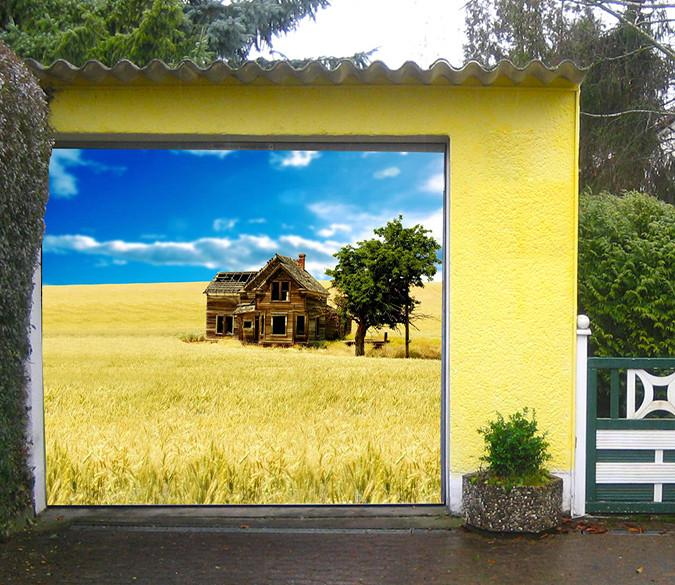 3D Wheat Field Wood House 113 Garage Door Mural