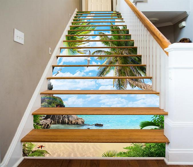 3D Beautiful Beach 780 Stair Risers