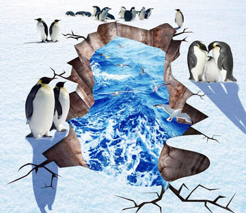 3D Penguins Family Floor Mural Wallpaper AJ Wallpaper 2