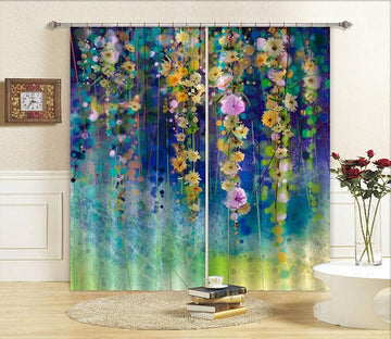 3D Hanging Flowers Vines 748 Curtains Drapes Wallpaper AJ Wallpaper