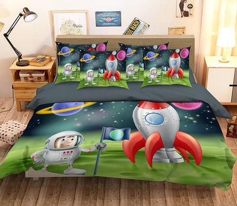 3D Astronaut Spacecraft 344 Bed Pillowcases Quilt