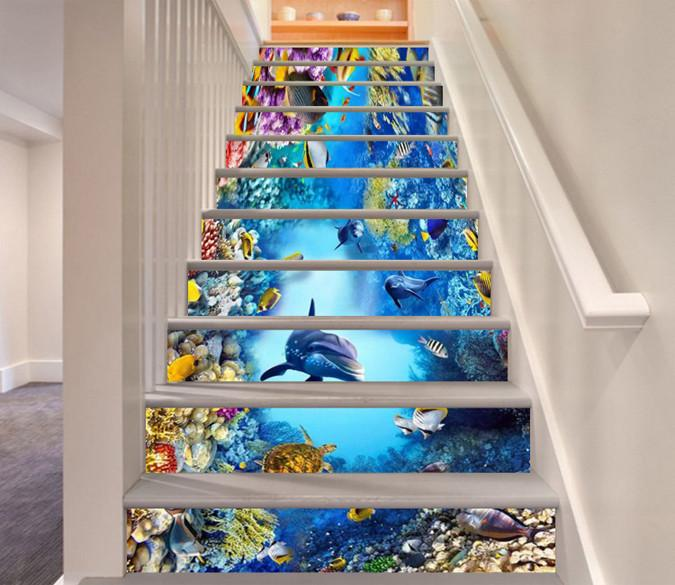 3D Beautiful Ocean World 69 Stair Risers Wallpaper AJ Wallpaper