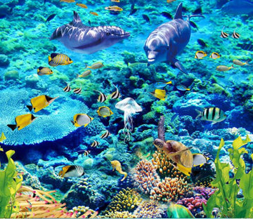 3D Beautiful Coral Sea Floor Mural - AJ Walls - 1