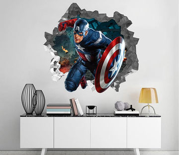 3D Captain America 76 Broken Wall Murals