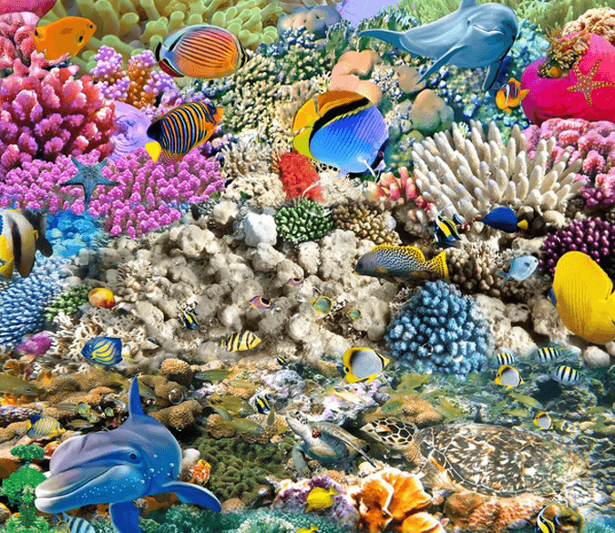 3D Bright Colorful Sea Floor Mural Wallpaper AJ Wallpaper 2