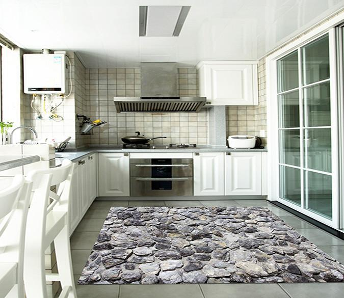 3D Uneven Stone Wall Kitchen Mat Floor Mural | AJ Wallpaper