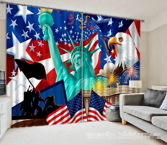 3D American Flag And Liberty Statue 1218 Curtains Drapes