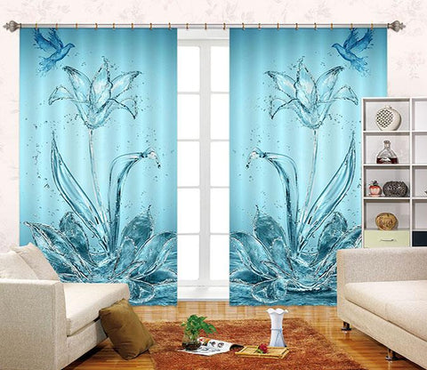 3D Water Flowers Birds 2469 Curtains Drapes
