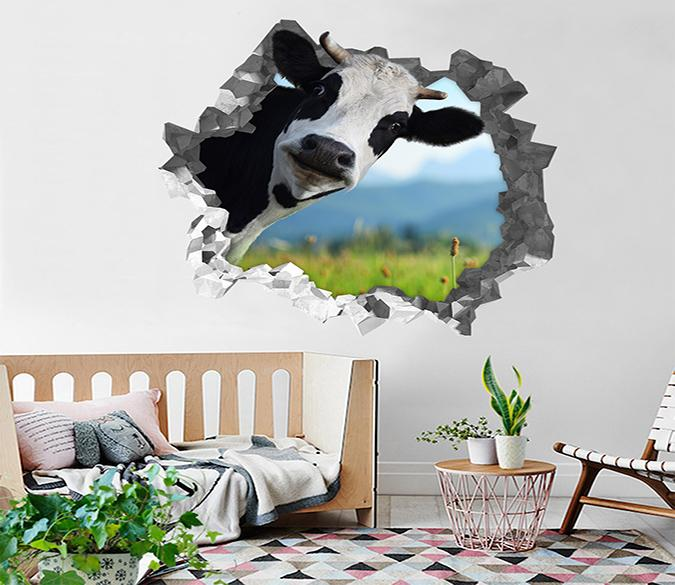 3D Funny Cow 187 Broken Wall Murals Wallpaper AJ Wallpaper