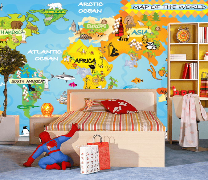 Animals World Map Wallpaper AJ Wallpaper