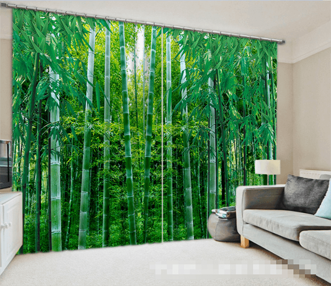 3D Bamboo Forest 1075 Curtains Drapes