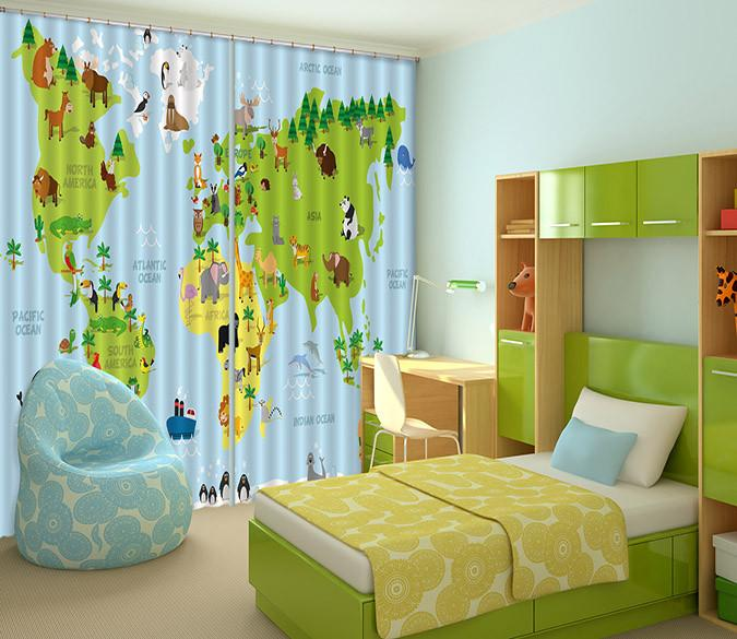 3D Animal World Map 552 Curtains Drapes